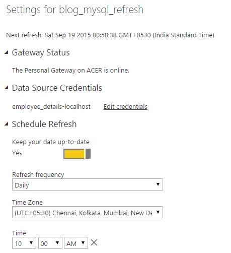 MySQL Connectivity to Power BI and Schedule Refresh