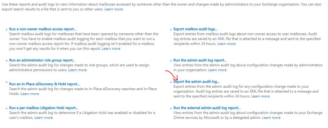 Export the admin audit log