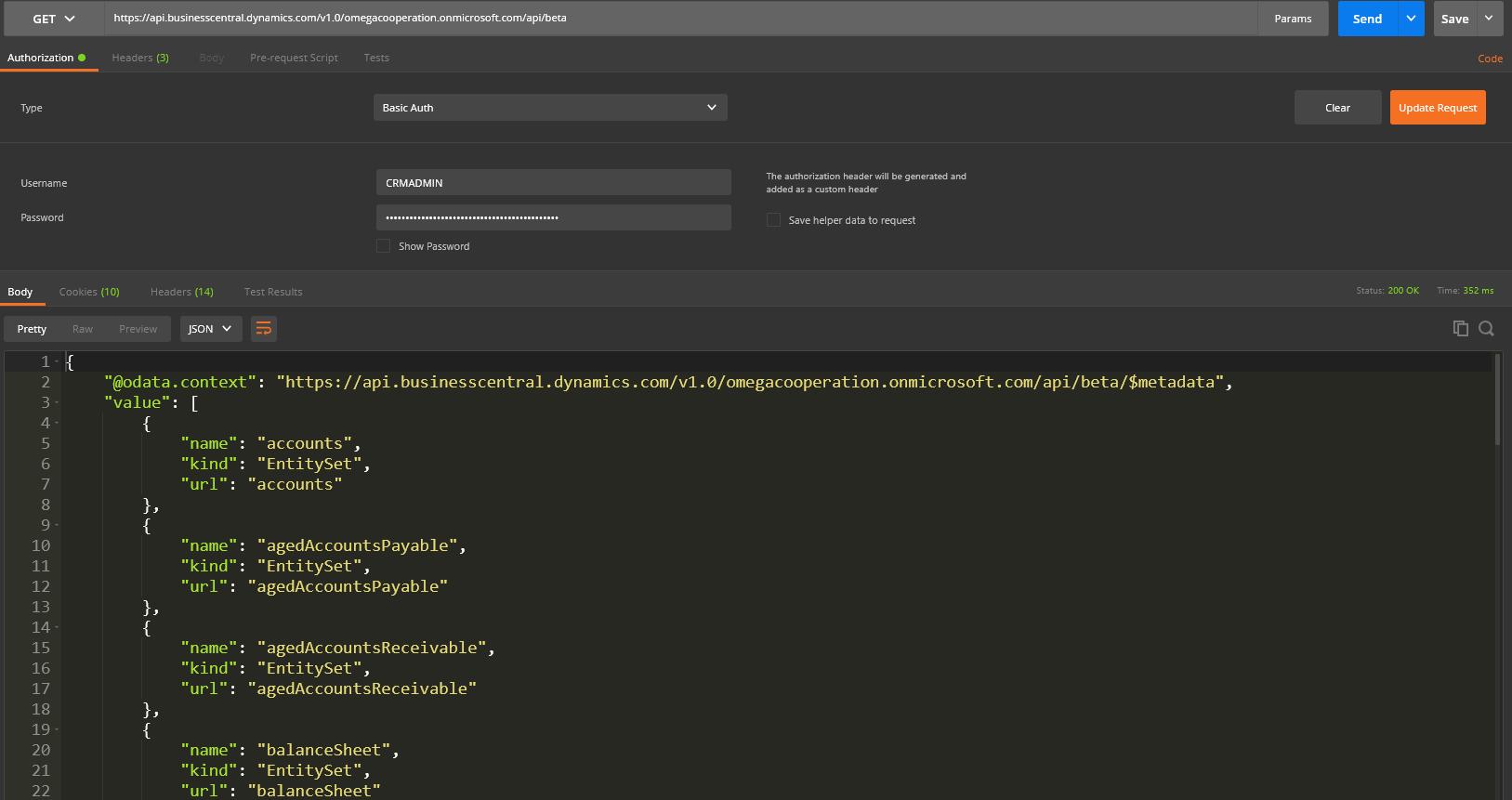 Explore Business Central API through Postman using Basic
