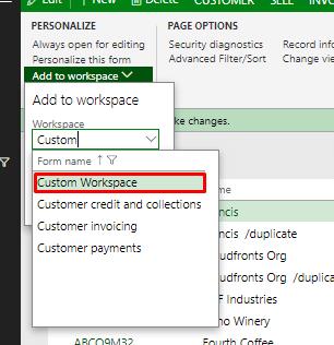 Select Custom Workspace