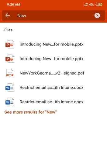 Search bar in Office App